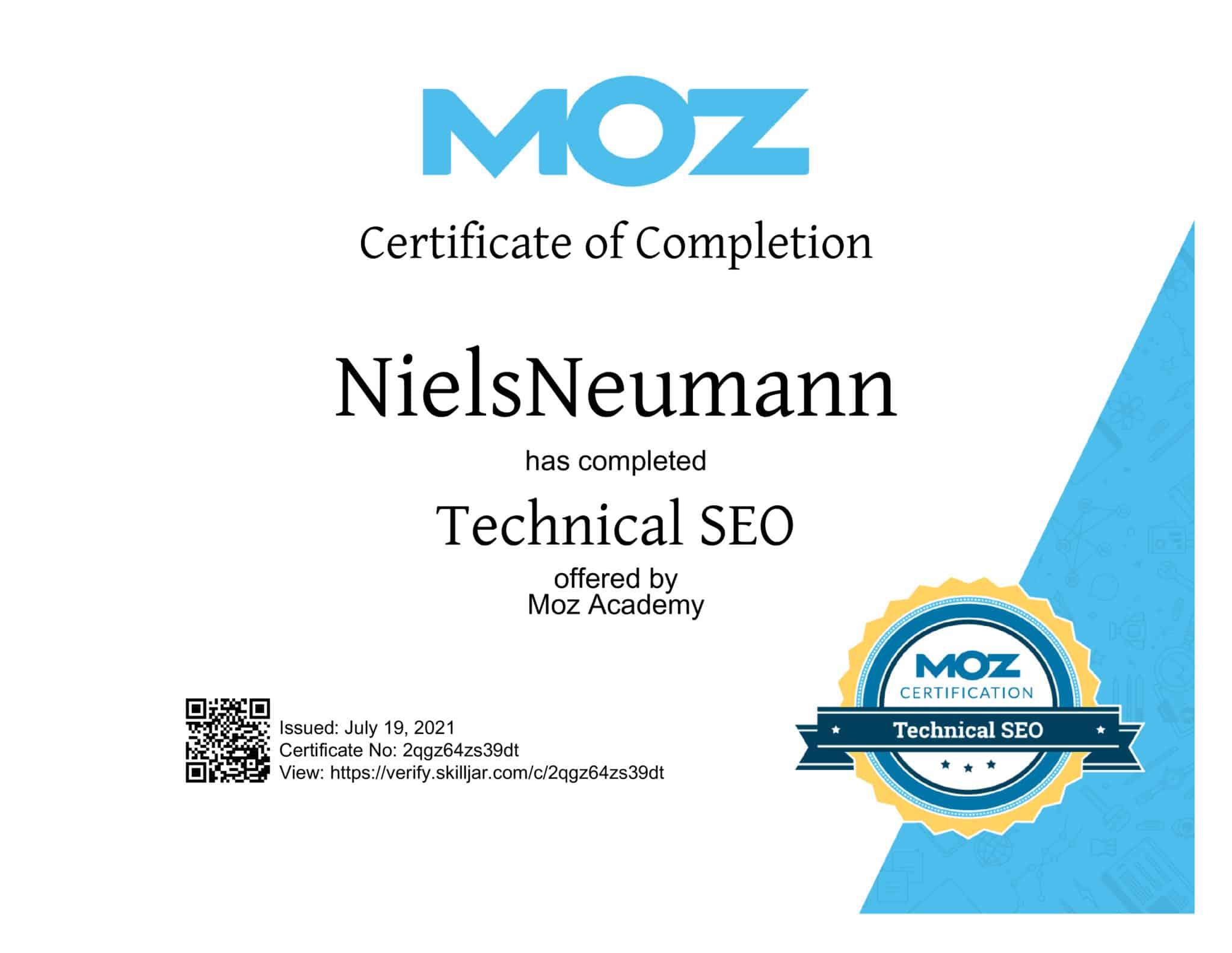 MOZ technical SEO Certificate Niels Neumann